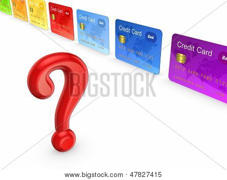 Red query mark and colorful credit cards.