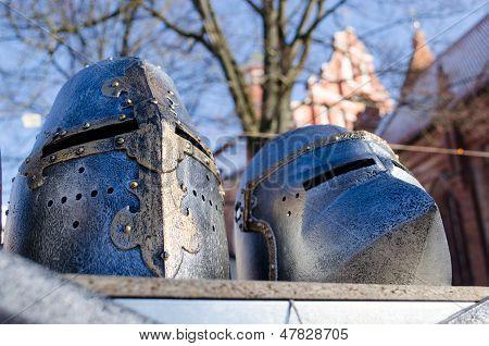 Iron Medieval Warrior Helmet Imitation Market Fair