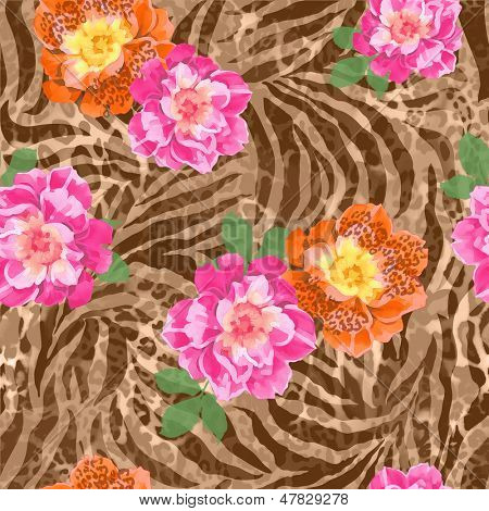 roses over animal seamless background