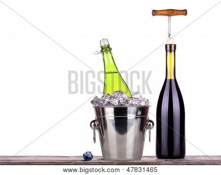 red wine and champagne bottle isolated