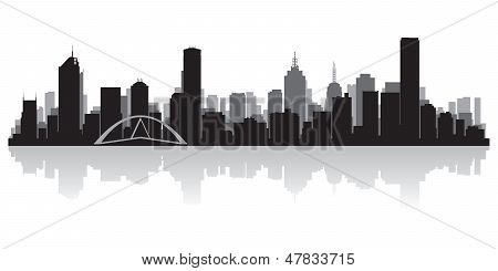 Melbourne Australia City Skyline Vector Silhouette
