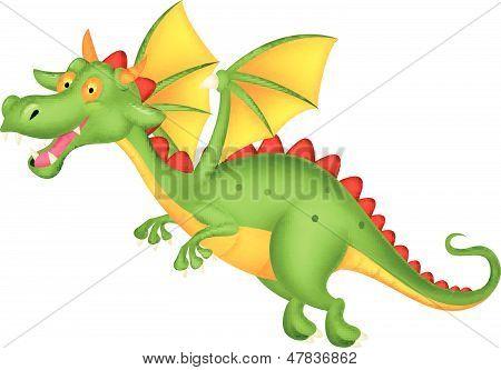 Desenhos animados bonitos dragão voando