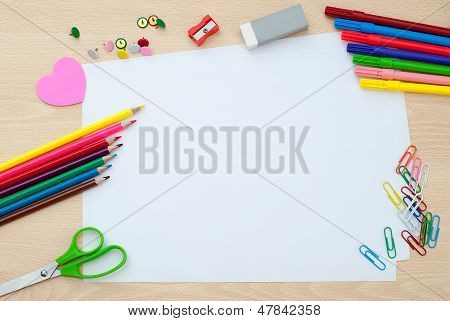 School Supplies With Blank Pages