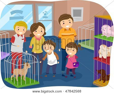 Illustration of Stickman Family Buying a Dog From a Pet Store