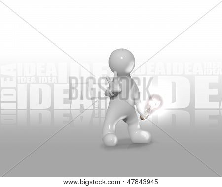 Man Holding A Light Bulb With The Word Idea On Background
