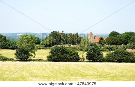 Rural Landscape With Historic Church In Kent, England