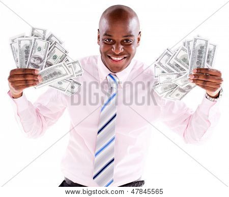 Rich business man with a bunch of dollars - isolated over a white background