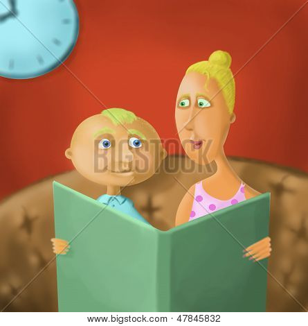 Mutter liest das Buch seinem Sohn
