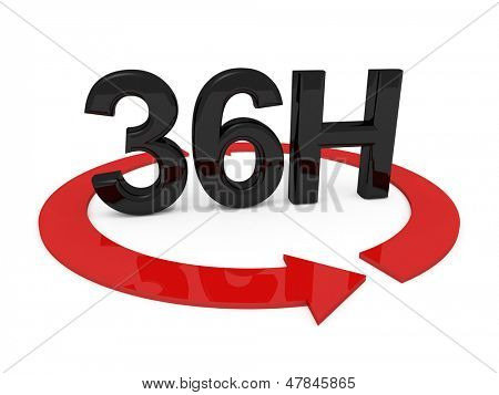 3d image of 36h on white background