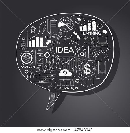 business strategy plan concept idea, speech bubble with doodle icons. File stored in version AI10 EPS. This image contains transparency.