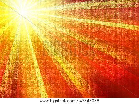 Mehrfarbigen Sonnenstrahlen Grunge hintergrund. Ein Vintage Poster.