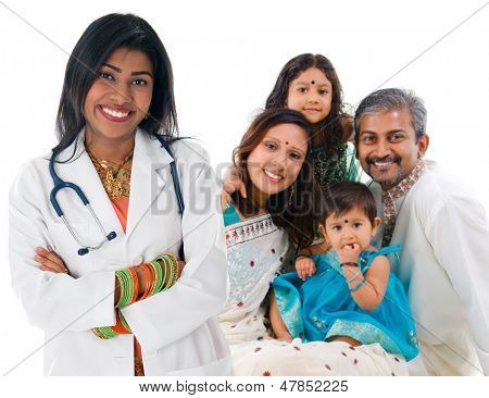 Smiling friendly Indian female medical doctor and patient family. Health care concept. Isolated on white background.