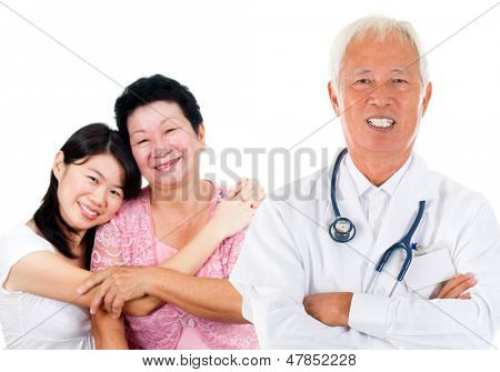 Smiling friendly Asian senior medical doctor and patient family. Woman health care concept. Isolated on white background.