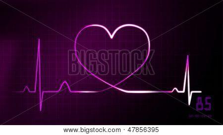 Heartbeat Magenta Of Ekg Monitor