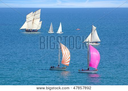 Sailing Regatta in the Cancale Bay.