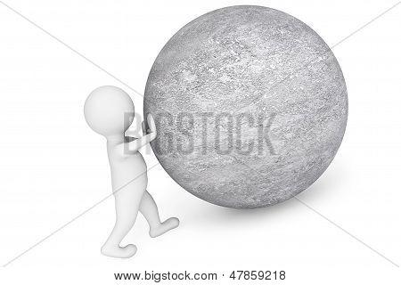 Man Pushing Sphere As Sisyphus