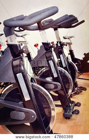Group Of Bicycles At Fitness Studio
