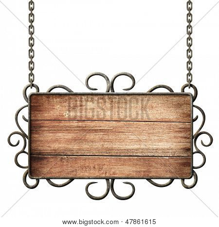 medieval sign with chains isolated on white