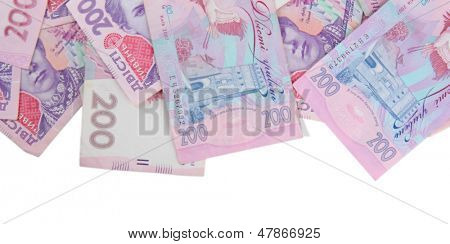 Pile of Ukrainian money, isolated on white