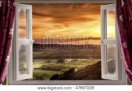 Open Window To Rural Landscape
