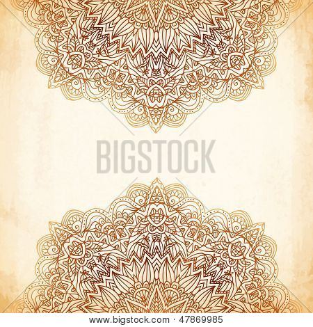 Ornate vintage vector background in mehndi style