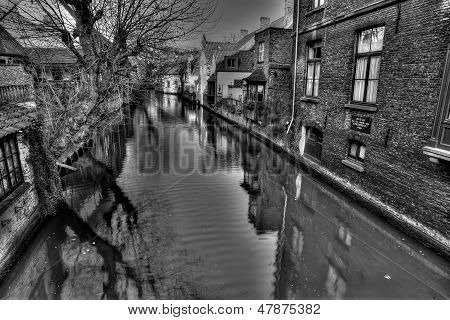 Black and White -Bruges Canal View