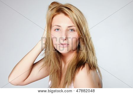 Attractive Blonde Woman With No Make Up