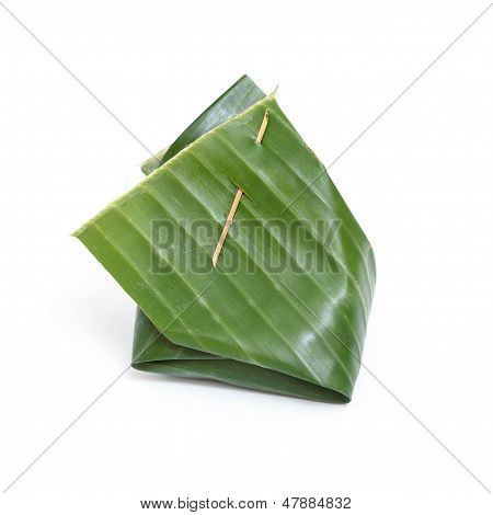 Thai Dessert In Banana Leaf Isolated On White Background