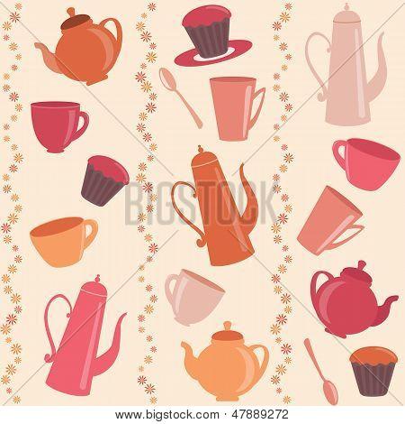 Nahtlose gestreiften Muster mit Tee und Kaffee