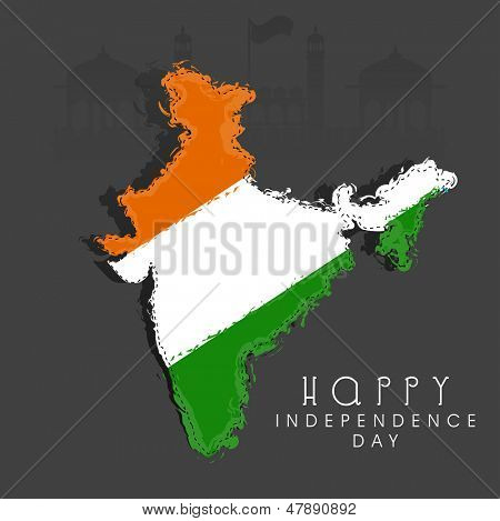Republic of India map in Indian tricolors on grey background for Independence Day.