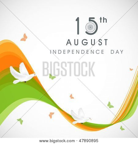 Creative Indian Independence Day concept with tricolors wave and flying pigeons and butterflies.