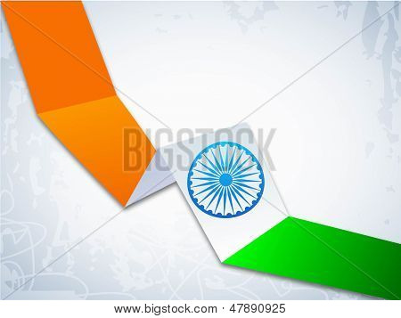 Indian Independence Day or Republic Day background with stripe in national flag colors.