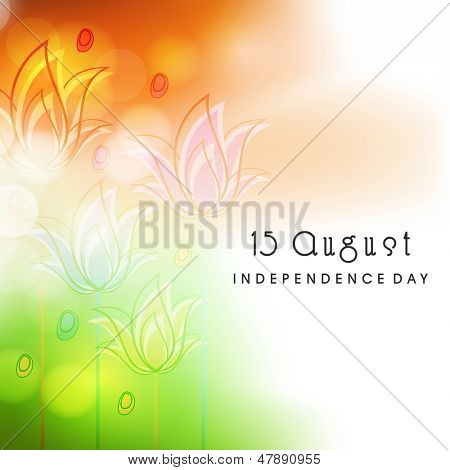 Indian independence day concept in floral decorate tricolors background.