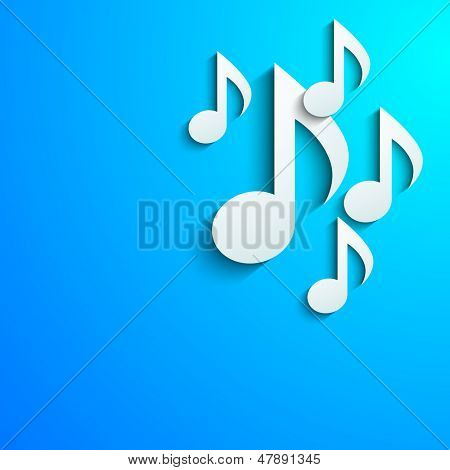 Abstract white musical notes on abstract blue background.