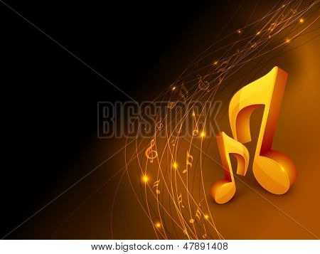 Shiny musical notes on abstract background.