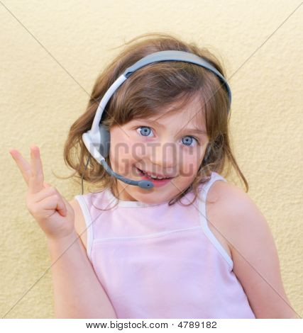 Girl, Kid, Headset.