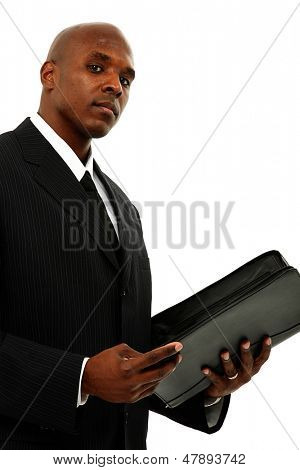 Concerned Attractive Black Man in Suit and Tie with Portfolio in Hands