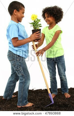 Brother and Sister planting flowers together.