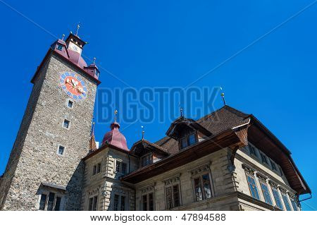 Town Hall Clock Tower In Lucerne