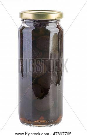 Glass jar with black olives