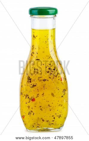 Glass bottle with italian sauce