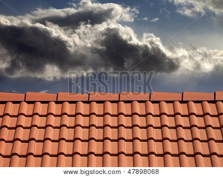 Roof Tiles And Storm Sky