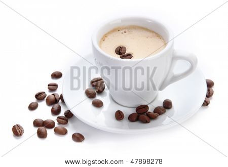 Cup of coffee with coffee beans, isolated on white