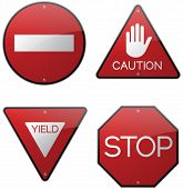 Caution Yield Stop and Do Not Enter Signs