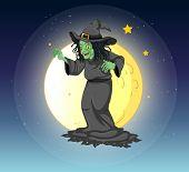 Постер, плакат: Иллюстрация ведьмы на fullmoon