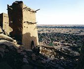stock photo of dogon  - View from Dogon village Teli Mali - JPG
