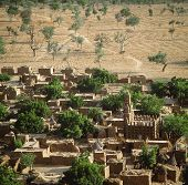stock photo of dogon  - View over Dogon village Teli Mali - JPG