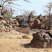 stock photo of dogon  - Traditional Graineries in Dogon village Lower Idjeli Mali, West Africa