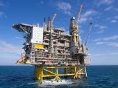 stock photo of offshoring  - Offshore oil platform on the North Sea in the Norwegian sector - JPG