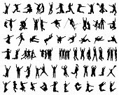 stock photo of exaltation  - Black silhouette of people jumping - JPG